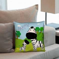 Ζέβρα και το μωρό της ,βαμβακερό διακοσμητικό μαξιλάρι, με το όνομα που θέλετε!
