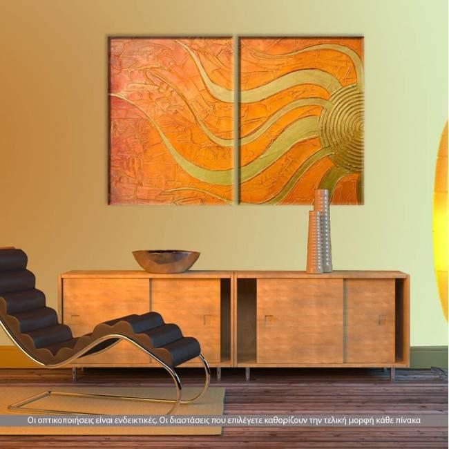 Golden Sun, δίπτυχος πίνακας σε καμβά (multipanel)
