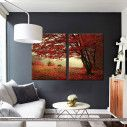 Red forest, δίπτυχος πίνακας σε καμβά (multipanel)