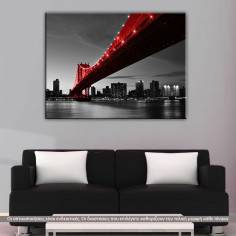 Manhattan Bridge Red & Gray, πίνακας σε καμβά