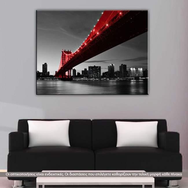Manhattan Bridge Red & Grayscale, πίνακας σε καμβά