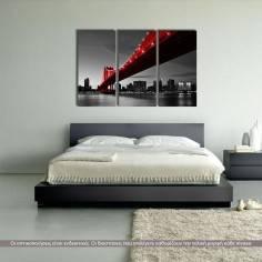 Manhattan Bridge Red & Gray, τρίπτυχος πίνακας σε καμβά (multipanel)