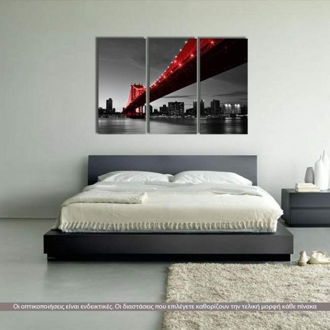 Manhattan Bridge Red & Grayscale, τρίπτυχος πίνακας σε καμβά (multipanel)