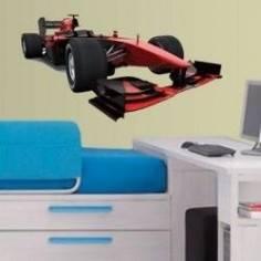 Αυτοκόλλητο τοίχου, Αγωνιστικό αυτοκίνητο, Κόκκινο και μαύρο, F1 Formula One