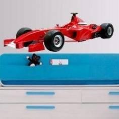 Αυτοκόλλητο τοίχου, Αγωνιστικό αυτοκίνητο, Κοκκινο, F1 Formula One