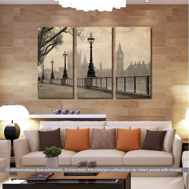 Big Ben & Parliament, τρίπτυχος πίνακας σε καμβά (multipanel)