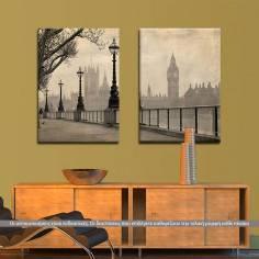 Big Ben & Parliament,δίπτυχος πίνακας σε καμβά (multipanel)