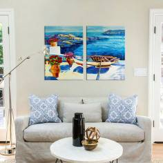Sea balcony view, δίπτυχος πίνακας σε καμβά (multipanel)