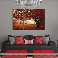 Red forest, τρίπτυχος πίνακας σε καμβά (multipanel).