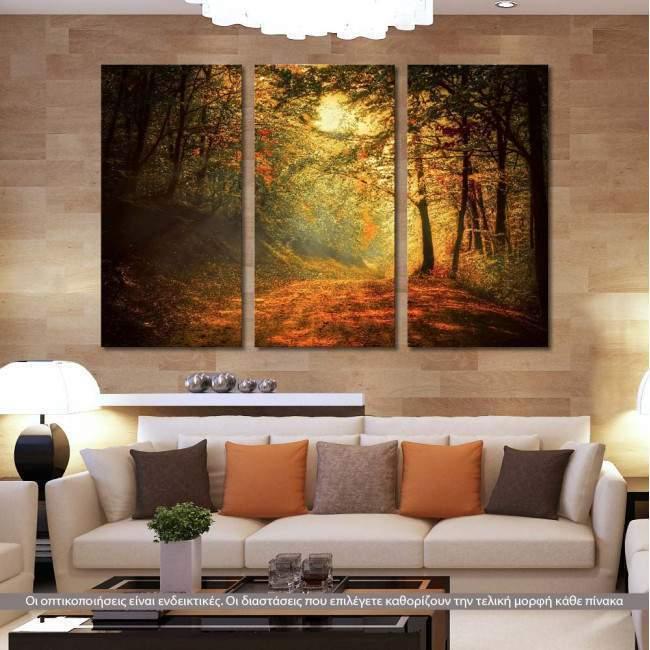 Forest memories, τρίπτυχος πίνακας σε καμβά (multipanel)