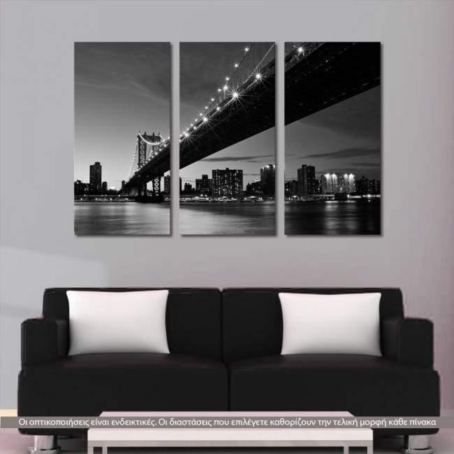 Manhattan Bridge Grayscale, τρίπτυχος πίνακας σε καμβά (multipanel)