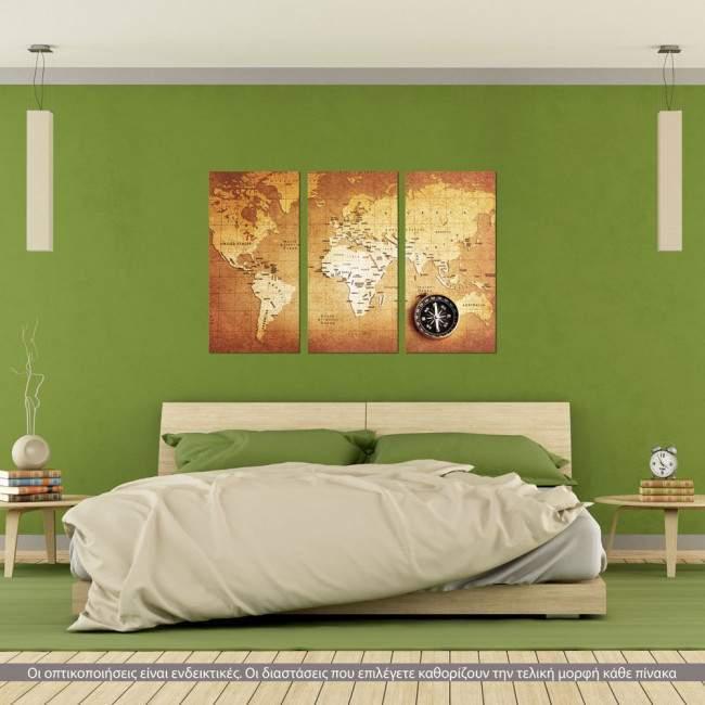 Παγκόσμιος χάρτης, τρίπτυχος πίνακας σε καμβά (multipanel)