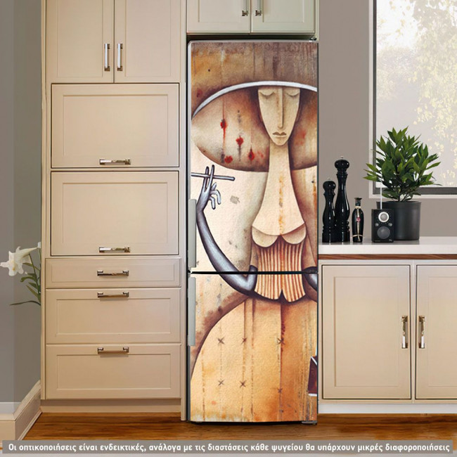 Lady ,art deco, αυτοκόλλητο ψυγείου