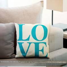Love ,blue and yellow, διακοσμητικό μαξιλάρι