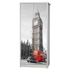 Big Ben and red bus,αυτοκόλλητο ντουλάπας