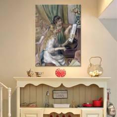 Πίνακας ζωγραφικής, Young girls at the piano, Renoir, αντίγραφο σε καμβά
