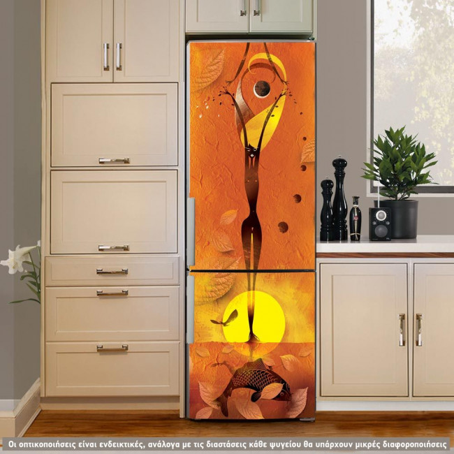 Abtract girl orange, αυτοκόλλητο ψυγείου