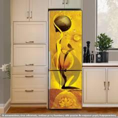 Abstract girl yellow, αυτοκόλλητο ψυγείου