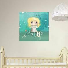 My baby angel με το όνομα που θέλετε, παιδικός - βρεφικός πίνακας σε καμβά
