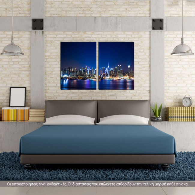 New York Manhattan skyline, δίπτυχος πίνακας σε καμβά (multipanel)