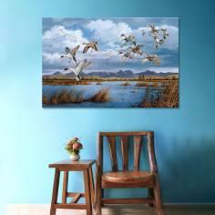 Ducks at lake art II, πίνακας σε καμβά