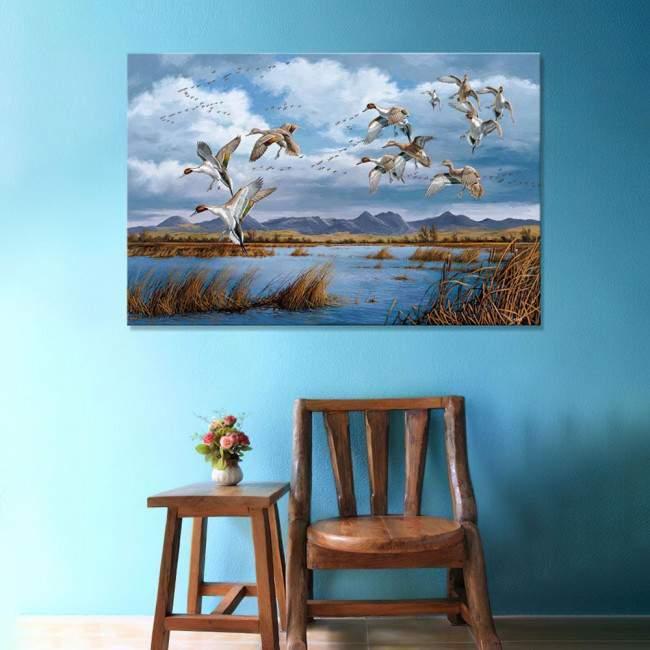 Ducks at lake art2, πίνακας σε καμβά