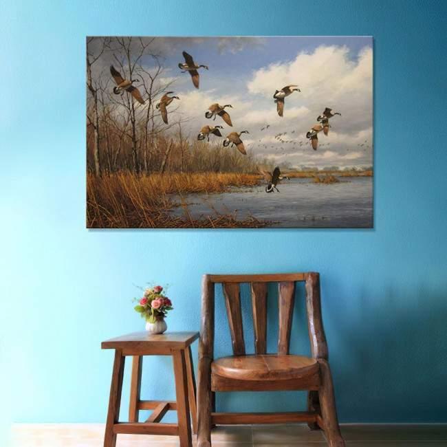 Ducks at lake, πίνακας σε καμβά