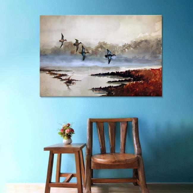 Ducks at lake watercolor art2, πίνακας σε καμβά