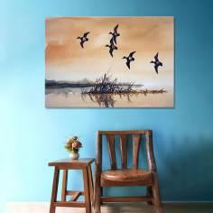 Ducks at lake watercolor, πίνακας σε καμβά