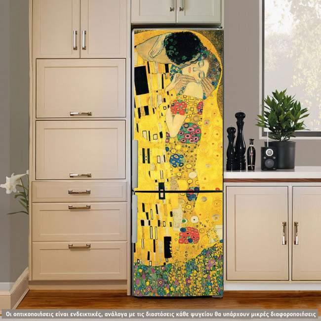 The kiss , Klimt , αυτοκόλλητο ψυγείου εμπρος όψη