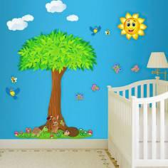 Αυτοκόλλητα τοίχου παιδικά, Στην σκιά του δέντρου, δέντρο και ζωάκια