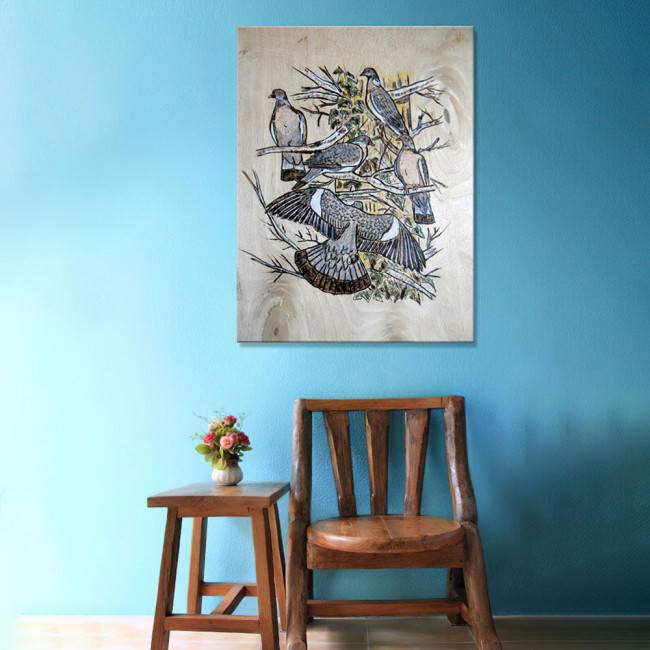 Pigeons painting, πίνακας σε καμβά