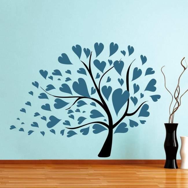 Σύνθεση με φύλλα καρδιές πετρολ, αυτοκόλλητο τοίχου