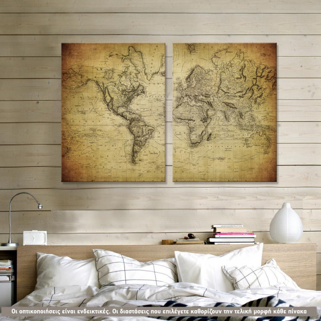 Vintage world map 1814, δίπτυχος πίνακας σε καμβά με χάρτη