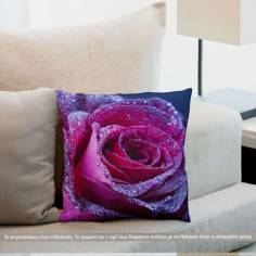 Purple rose drops, διακοσμητικό μαξιλάρι
