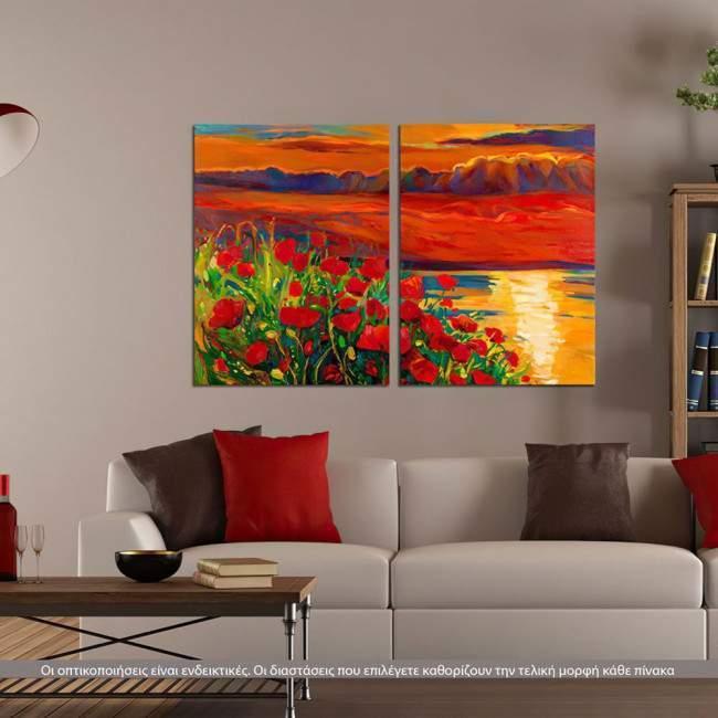 Blooming sunset, δίπτυχος πίνακας σε καμβά (multipanel)