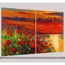 Πίνακας σε καμβά, Blooming sunset, δίπτυχος