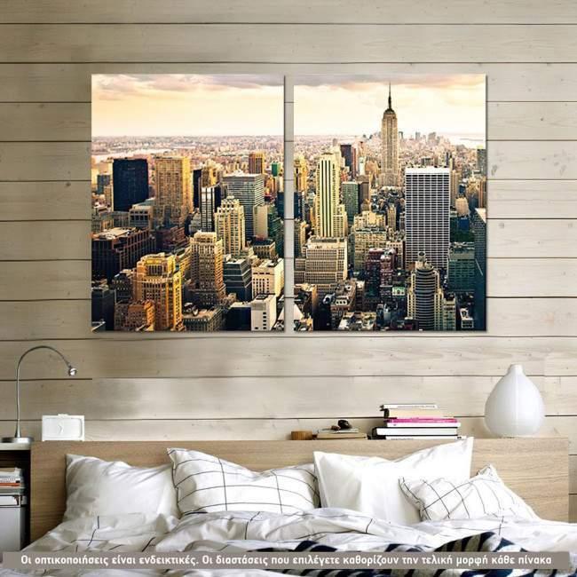 Manhattan & The Empire State Building, δίπτυχος πίνακας σε καμβά (multipanel)