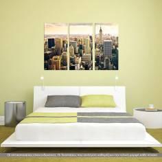 Manhattan & the Empire state building, τρίπτυχος πίνακας σε καμβά