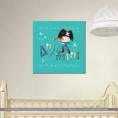 Πίνακας παιδικός σε καμβά, Πειρατής, με όνομα