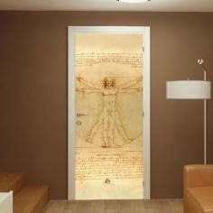 The Vitruvian man, Leonardo Da Vinci,αυτοκόλλητο πόρτας