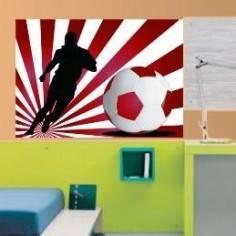 Αυτοκόλλητο τοίχου, Ποδοσφαιριστής με εντυπωσιακό φόντο κόκκινο