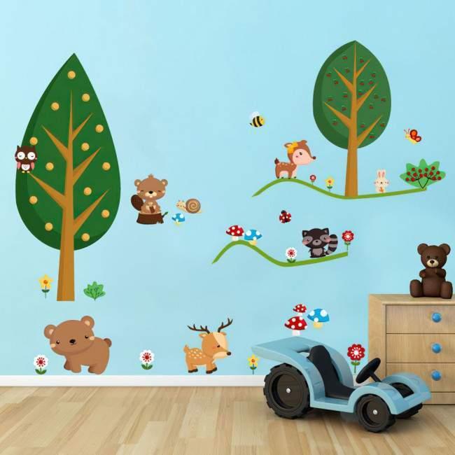 Ζωάκια του Δάσους, αυτοκόλλητα τοίχου