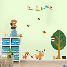 Ζωάκια του Δάσους, αυτοκόλλητα τοίχου με ζωάκια και δέντρο στο δάσος