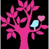 Καρδιά και πουλί σε υπέροχο συνδυασμό | Αυτοκόλλητο τοίχου | Λιλά κορμός Αυτοκόλλητο τοίχου , κοντινό