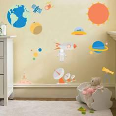 Ηλιακό Σύστημα, παράσταση σε αυτοκόλλητα τοίχου με πλανήτες και τηλεσκόπιο κ.α