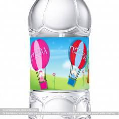Αερόστατα (Για δίδυμα), αυτοκόλλητα για βαζάκια - μπομπονιέρες - μπουκάλια βάπτισης, με το όνομα που θέλετε