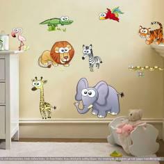 Τα Ζώακια της Σαβάνας, παράσταση σε αυτοκόλλητα τοίχου με πολλά μεγάλα ζωάκια