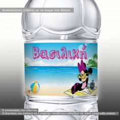 Μινι μαους στην παραλία,10άδα ,αυτοκόλλητα για βάφτιση ,βαζάκια - μπομπονιέρες - μπουκάλια ,με το όνομα που θέλετε