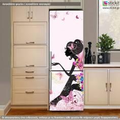 Flower Fairy pink, αυτοκόλλητο ψυγείου